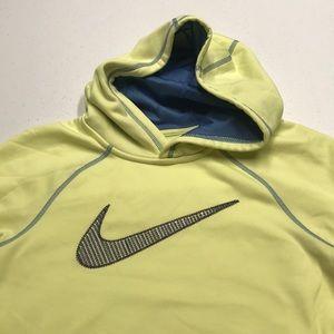 NIKE THERMA-FIT Womens Yellow Hoodie Sweatshirt